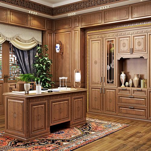 中式金丝樱桃书柜