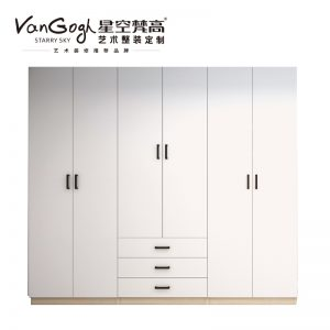 整体定制衣柜 巴克卡尔·玉石白+艾格黄橡衣柜
