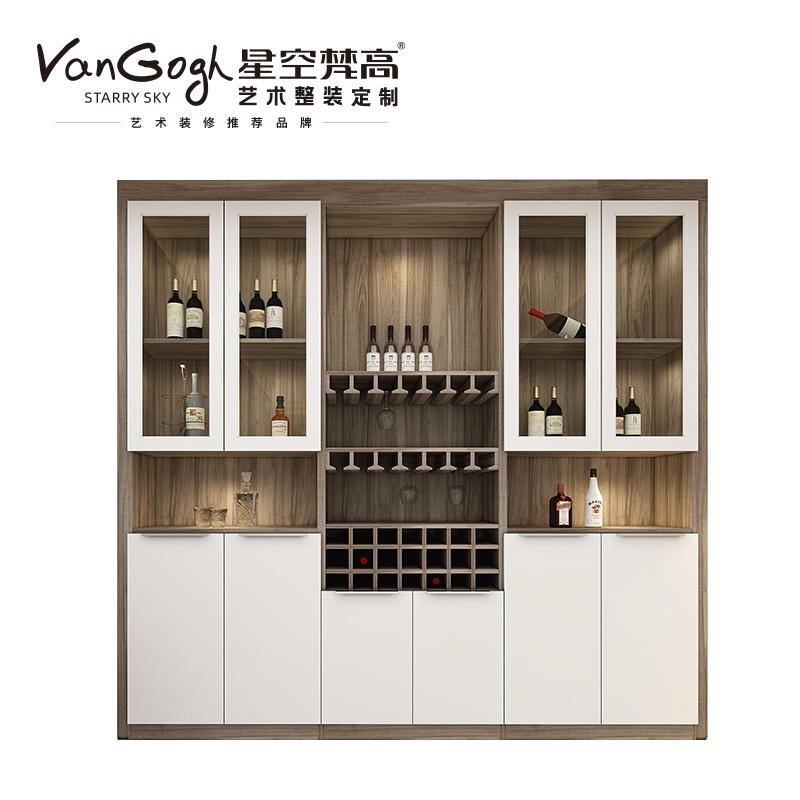 整体定制酒柜 塔特森林·迈阿密胡桃+玉石白酒柜