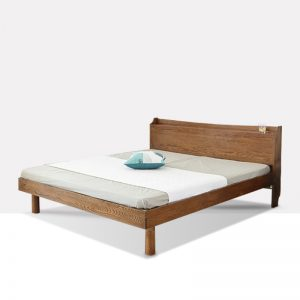 现代简约双人床白橡木床 木色生香 906插座床