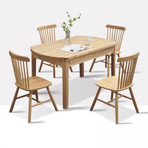 星空梵高 实木多功能圆桌 伸缩桌面餐桌餐椅 原木食尚 多功能圆桌